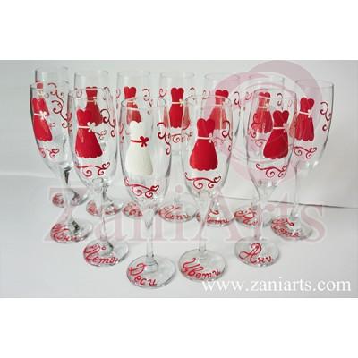 """Чаши за моминско парти """"Рокли"""" - Елегант №951 (на брой)"""